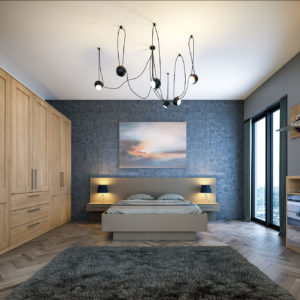 Tortona Natural Oak Shaker Matt Stone Grey Bedroom