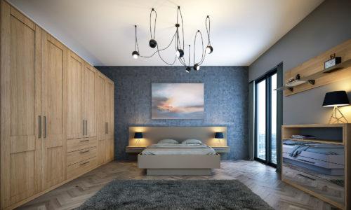 Tortona Natural Oak Shaker Matt Stone Grey Bedroom